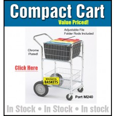 "Mail Room and Office Carts Compact Mail Distribution Cart with Bolt On Baskets and 10"" Rear Wheels"