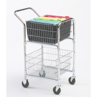 Mail Room and Office Carts Compact Mail Distribution Cart with Bolt On file Baskets