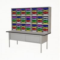 "Mail Room Furniture 84""W, Triple Mail Sorter with Lower Table, 84 Pockets, Letter or Legal Depths"