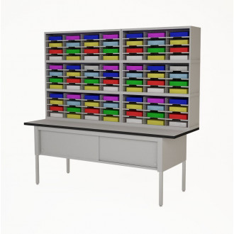 """Mail Room Furniture 84""""W, Triple Mail Sorter with Lower Table, 84 Pockets, Letter or Legal Depths"""