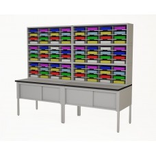 "Mail Room Furniture and Office Organizers  96""W, Triple Sorter with Lower Table Complete!, 96 Pockets, your choice of Letter or Legal Depths"