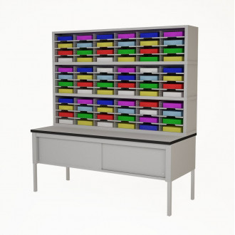 "72""W, Triple Mail Sorter with Lower Table Complete! 72 Pockets, your choice of Letter or Legal Depths"