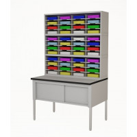 "Mailroom Furniture 48""W, Triple Mail Sorter with Lower Table Complete! 48 Pockets, Letter or Legal Depths"