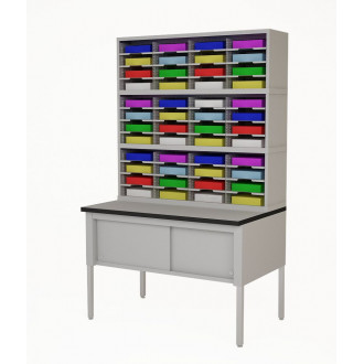 """Mailroom Furniture 48""""W, Triple Mail Sorter with Lower Table Complete! 48 Pockets, Letter or Legal Depths"""