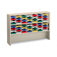 "Mail Room Console and Office Organizer 72""W x 12-3/4""D, 56 Pocket Sorter with 9-1/2""W Shelves and Enclosed Riser"