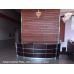 12' Walnut Veneer Reception Desk with Glass Top FREE FREIGHT