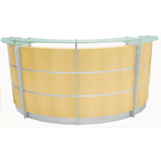 8' Maple Veneer Reception Desk with Glass Top FREE FREIGHT