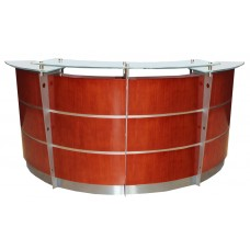 8' Cherry Veneer Reception Desk with Glass Top FREE FREIGHT