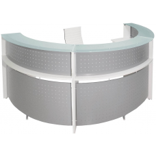 White Half Round Glass Top Reception Desk - FREE FREIGHT
