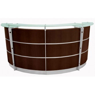 8' Curved Walnut Veneer Reception Desk with Glass Top FREE FREIGHT