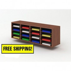 """Over Stock Special! 49-3/4""""W Wall Mount Custom Wood 16 Pocket Sorter in Walnut - FREE shipping!!"""