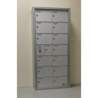 "Close Out Special!! 14 Door Surface Mount Front Loading Small Item Cabinet (5""H x 8""H doors, 6-1/2""D) FREE SHIPPING !! Hurry 1 left!"