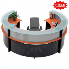 Semi Circle Glass Top Reception Desk - FREE FREIGHT