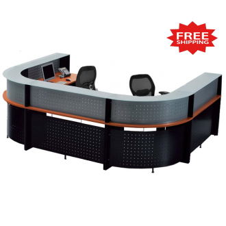 U Shaped Glass Top 2 Person Reception Desk - FREE FREIGHT