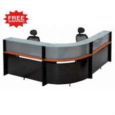 L  Shape Glass Top Reception Desk  FREE FREIGHT