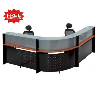 L  Shape Glass Top Reception Desk  FREE FREIGHT