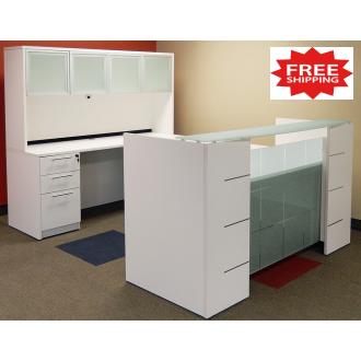 U Shape Reception Desk with Hutch FREE FREIGHT