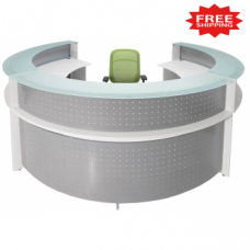 White Semi Circle Glass Top Reception Desk - FREE FREIGHT