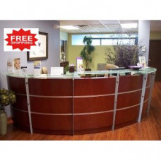 12' Cherry Veneer Reception Desk with Glass Top FREE FREIGHT