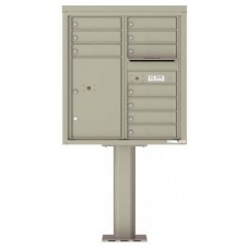 "Mailbox Front Loading Commercial or Residential, 4C Mailbox w/10 tenant compartments, 1 parcel lockers, 62-7/16""H"