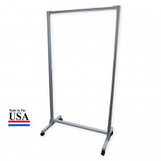 "Acrylic Mobile Divider Protection Screen 74""H x 38""W with Thermometer Cut-Out - FREE SHIPPING!"