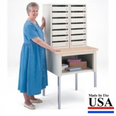 Mail Room Furniture Side By Side Double Mail Security Station, 14 Doors with 3 Different Lock Styles to Choose!