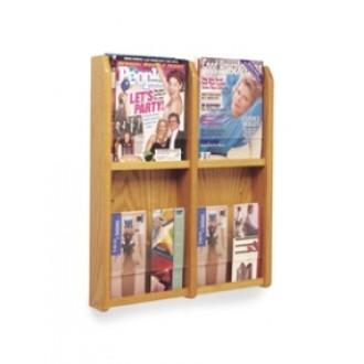 Office Products Magazine Racks - Wood and Acrylic Magazine/Pamphlet Combination Rack