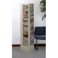 Office Furniture Magazine Racks Rotary Rack 92 Pockets - Putty