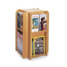Office Products Magazine Racks Wood and Acrylic Magazine/Pamphlet Combination Rotating Rack
