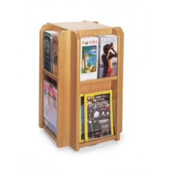 Office Products Magazine Racks Wood and Acrylic Magazine/Pamphlet Combination Rotating Rack