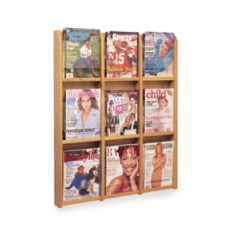 Office Products Magazine Racks Wood and Acrylic Magazine Rack - 9 Pocket