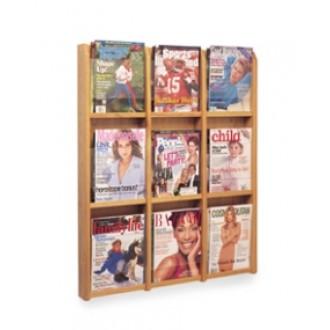 Office Products Magazine Racks Wood and Acrylic Magazine Rack - 9 Pocket