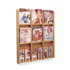 Office Products Magazine Racks Wood and Acrylic Magazine/Pamphlet Combination Rack