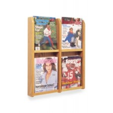Office Products Magazine Racks Wood and Acrylic Magazine Rack - 4 Pocket