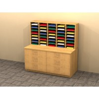 Mail Room Furniture - Custom Wood Mail Sorters - 40 Pocket Sorter and Table with Drawers