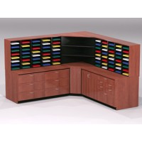 Mail Room Furniture - Complete Custom Wood Mail Center with 80 Pockets and Storage