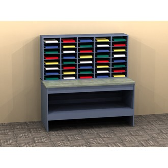 Mail Room Furniture - Custom Wood 40 Pocket Mail Sorter and Table