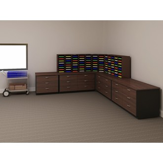 Mail Room Furniture - Custom Wood Mail Center shown in Chocolate Apple