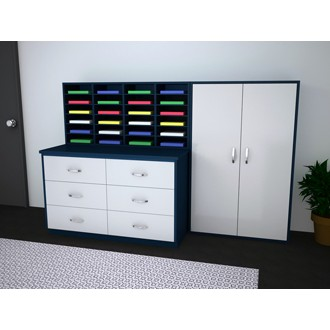 Mail Room Furniture - Complete Custom Wood Mail Center with 24 Mail Sorting Pockets and Storage Cabinet