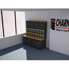 Mail Room Furniture - Complete Wood Mail Center with 80 Mail Sorting Pockets and Upper Storage Cabinets