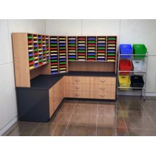 "Mail Room Furniture - Complete Custom Wood Mail Center with 104 Pockets, 15-3/4""D and Lower Storage Cabinets 36""D"