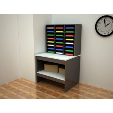 Mail Room Furniture - Attractive 24 Pocket Wood Mail Sorter and Wood Table
