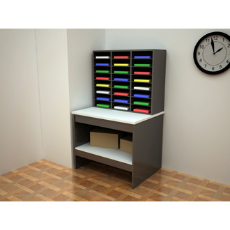 Custom Mail Room Furniture - Attractive 24 Pocket Wood Mail Sorter and Wood Table