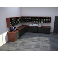 Complete Custom Wood Mail Center with 176 Adjustable Pockets and Lower Storage Cabinets