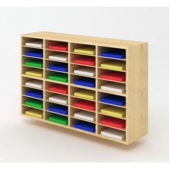 "Custom Mail Room Furniture - 49-3/4""W Custom Wood Sorter - 32 Pocket."