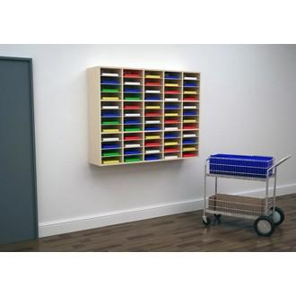 "Custom Mail Room Furniture - 62""W Attractive Wood Sorter / Organizer, 60 pocket sorter"