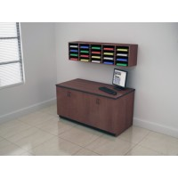 Wall Mount Custom Wood 20 Pocket Sorter with Lower Cabinet.
