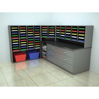 Custom Mail Room Furniture - Complete Custom Wood Mail Center with 75 Mail Pockets and Storage