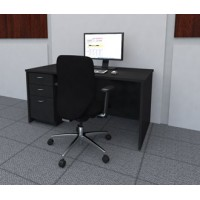 """Mail Room And Office Furniture - 63""""W Wood Desk with File Drawers"""