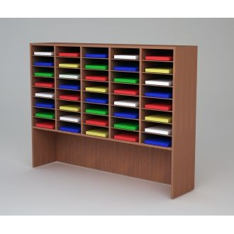 "Custom Mail and Office Furniture - 62""W Custom Wood Mail Sorter and Riser - 40 pockets."